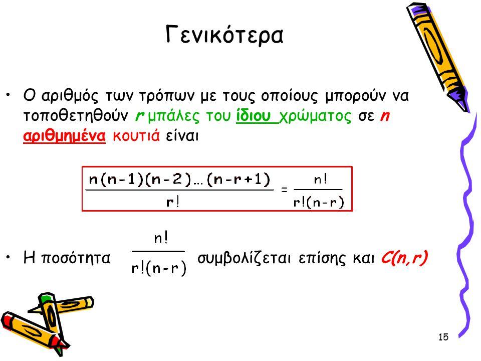 Γενικότερα Ο αριθμός των τρόπων με τους οποίους μπορούν να τοποθετηθούν r μπάλες του ίδιου χρώματος σε n αριθμημένα κουτιά είναι.