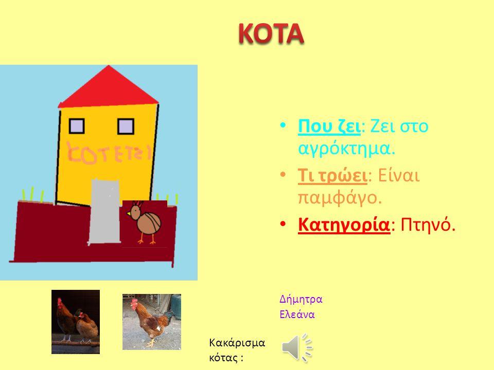 KOTA Που ζει: Ζει στο αγρόκτημα. Τι τρώει: Είναι παμφάγο.