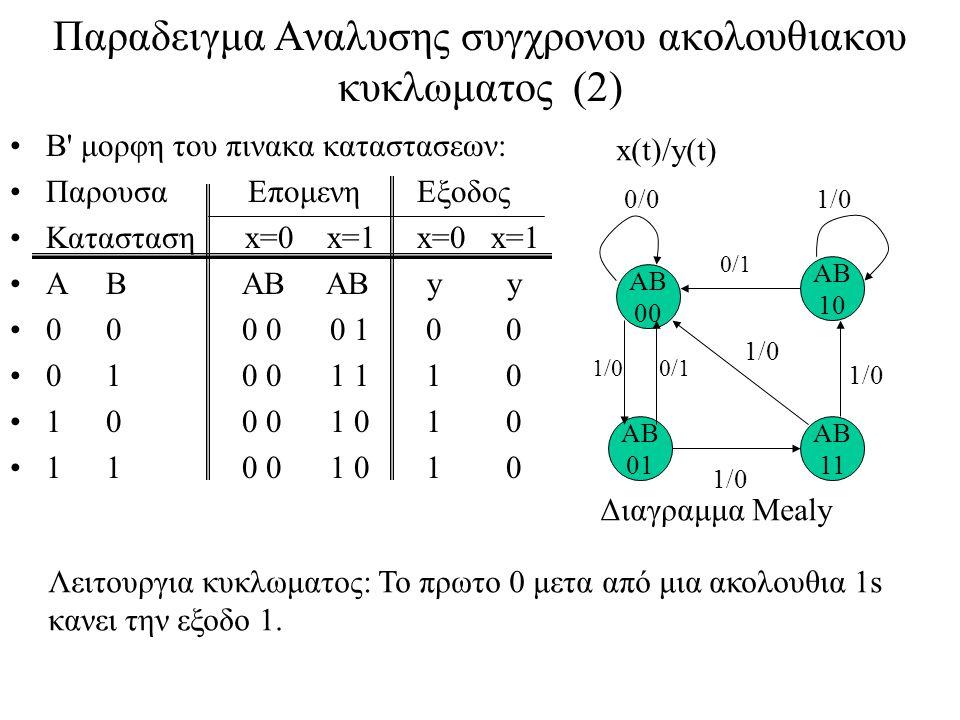 Παραδειγμα Αναλυσης συγχρονου ακολουθιακου κυκλωματος (2)