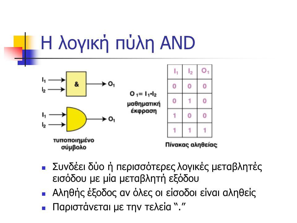 Η λογική πύλη AND Συνδέει δύο ή περισσότερες λογικές μεταβλητές εισόδου με μία μεταβλητή εξόδου. Αληθής έξοδος αν όλες οι είσοδοι είναι αληθείς.