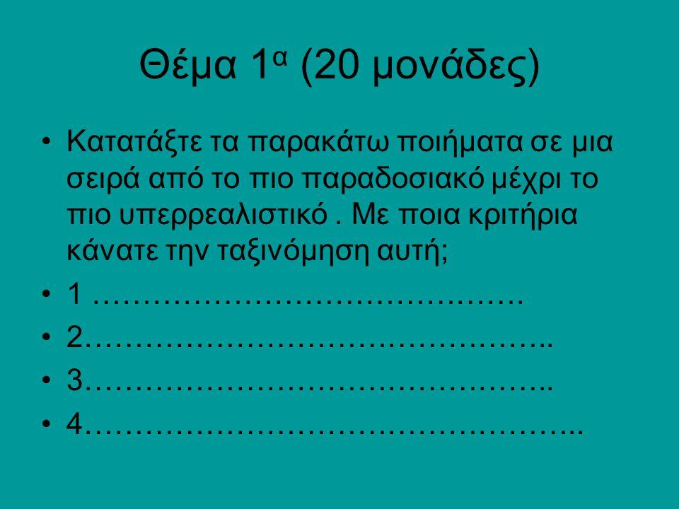 Θέμα 1α (20 μονάδες)