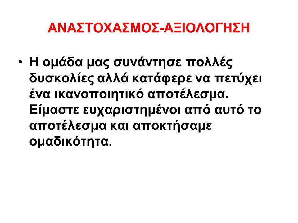 ΑΝΑΣΤΟΧΑΣΜΟΣ-ΑΞΙΟΛΟΓΗΣΗ