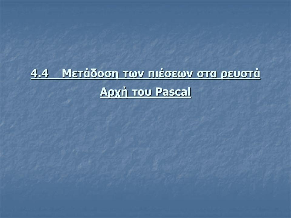 4.4 Μετάδοση των πιέσεων στα ρευστά Αρχή του Pascal