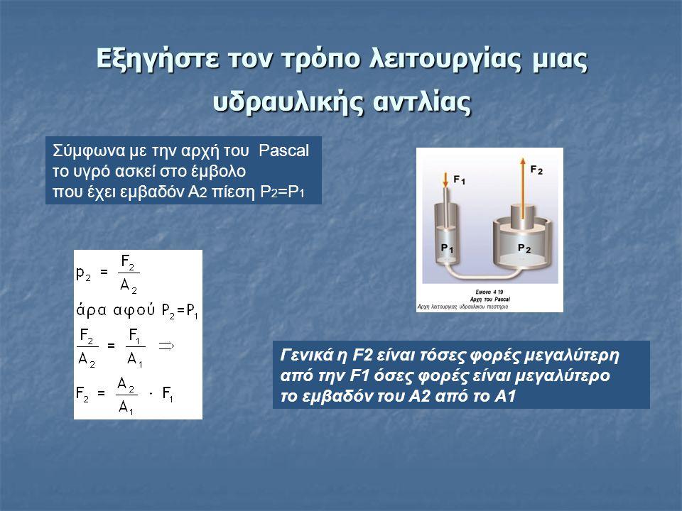 Εξηγήστε τον τρόπο λειτουργίας μιας υδραυλικής αντλίας