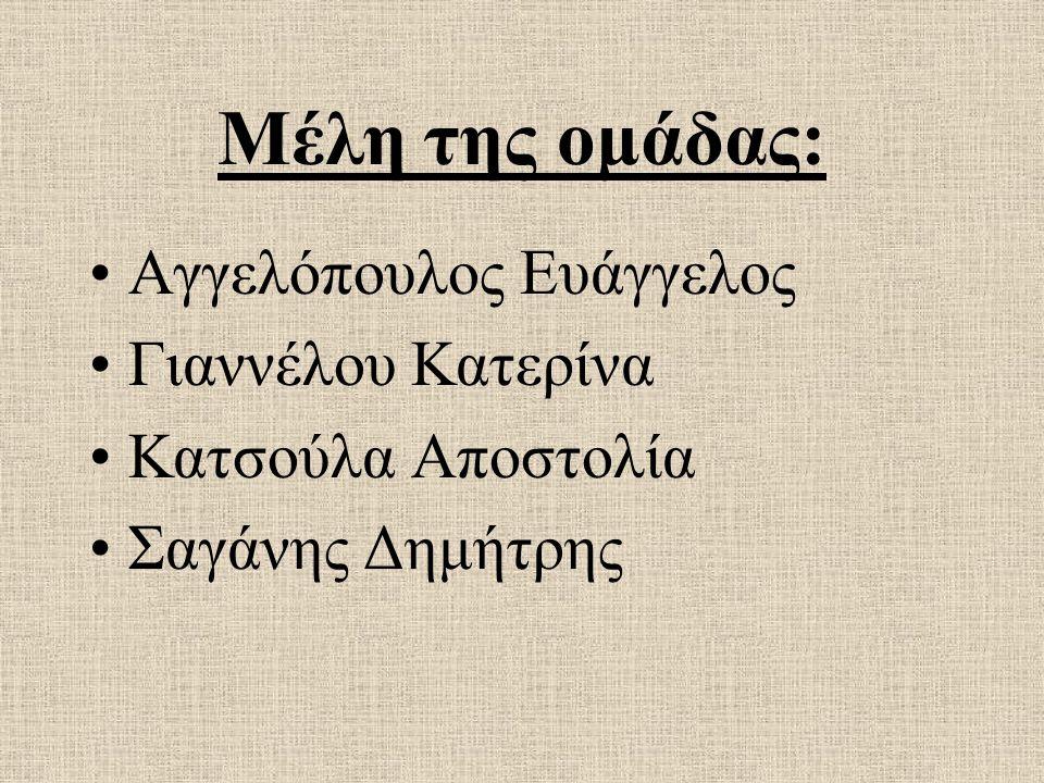 Μέλη της ομάδας: Αγγελόπουλος Ευάγγελος Γιαννέλου Κατερίνα