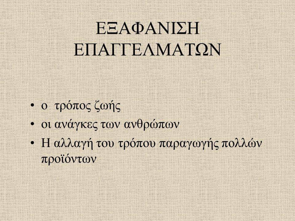 ΕΞΑΦΑΝΙΣΗ ΕΠΑΓΓΕΛΜΑΤΩΝ