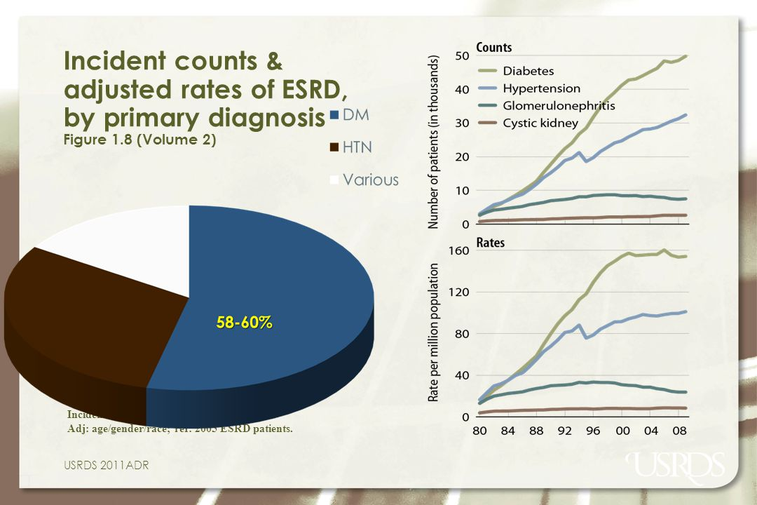 Incident counts & adjusted rates of ESRD, by primary diagnosis Figure 1.8 (Volume 2)