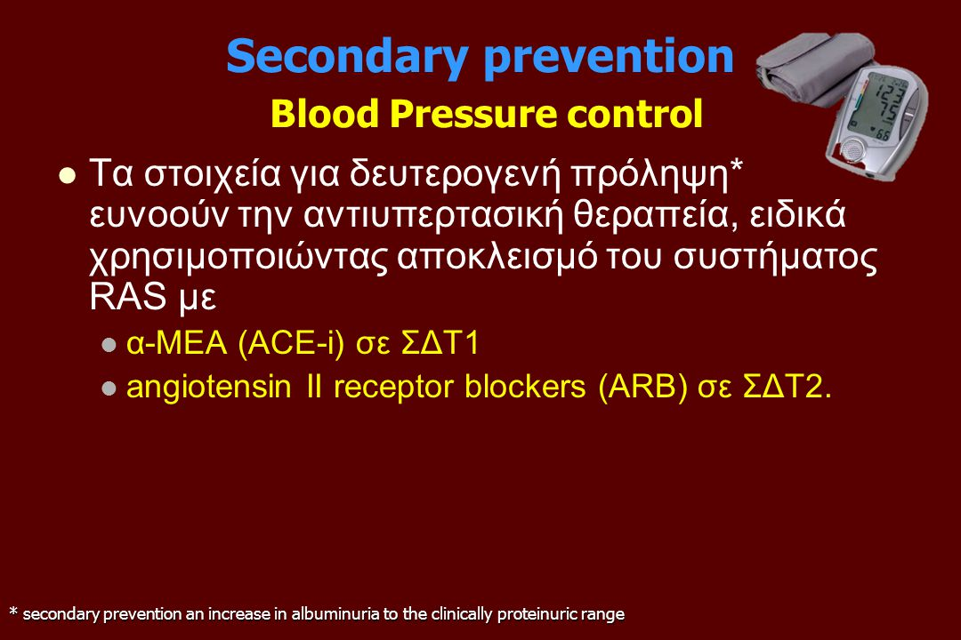 Secondary prevention Blood Pressure control