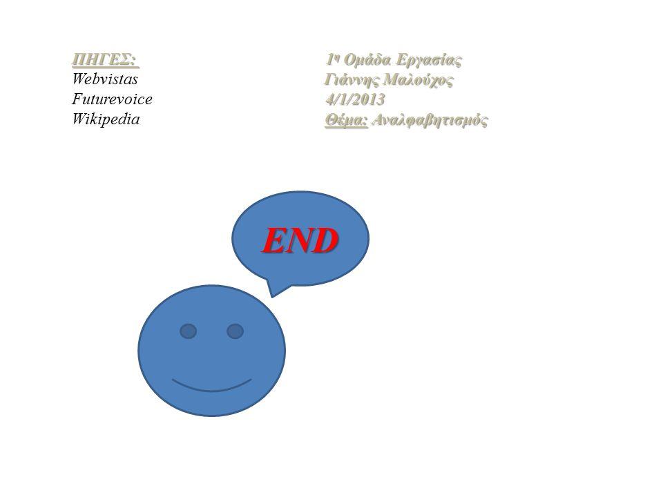 END ΠΗΓΕΣ: 1η Ομάδα Εργασίας Webvistas Γιάννης Μαλούχος