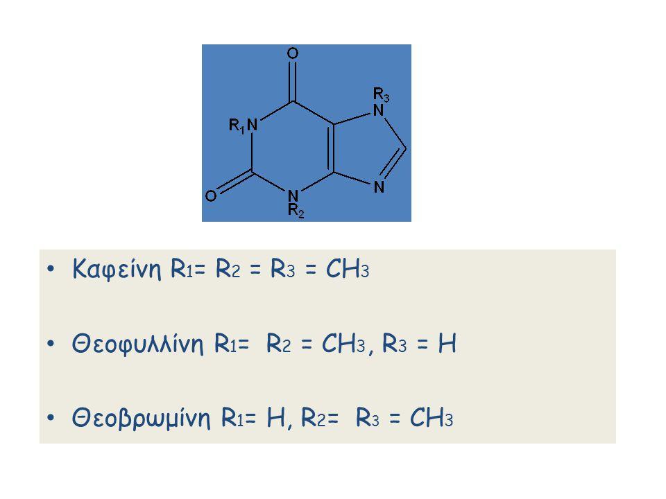 Καφείνη R1= R2 = R3 = CH3 Θεοφυλλίνη R1= R2 = CH3, R3 = Η Θεοβρωμίνη R1= Η, R2= R3 = CH3