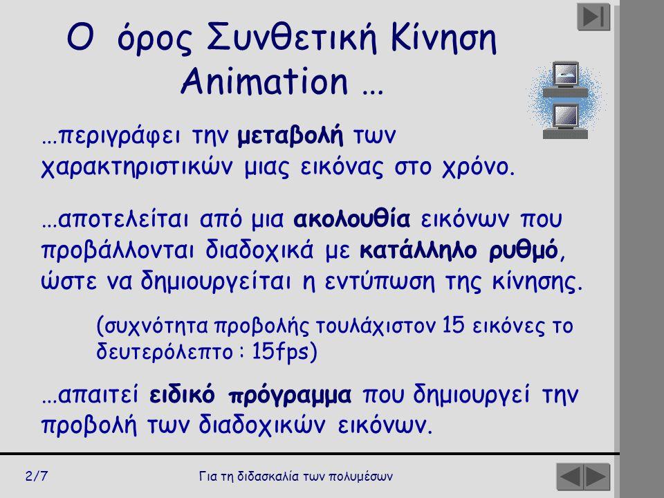 Ο όρος Συνθετική Κίνηση Animation …