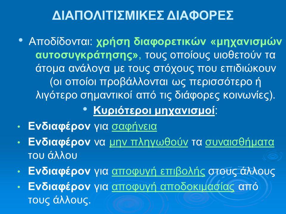 ΔΙΑΠΟΛΙΤΙΣΜΙΚΕΣ ΔΙΑΦΟΡΕΣ