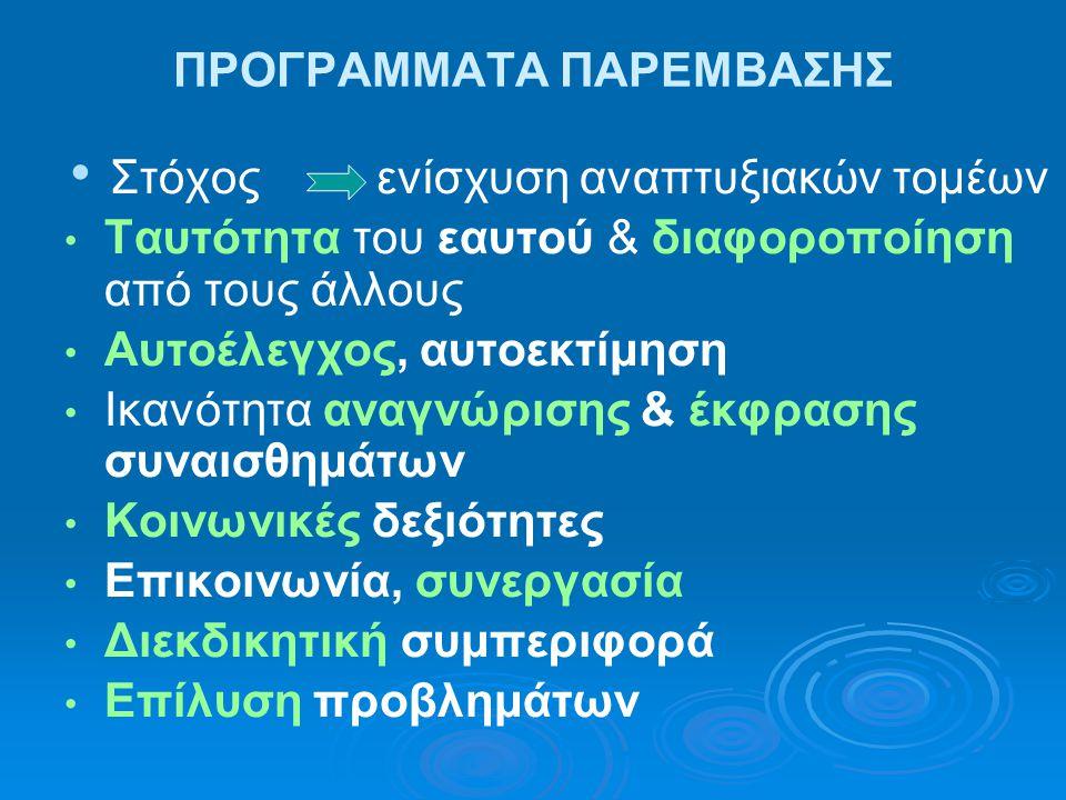 ΠΡΟΓΡΑΜΜΑΤΑ ΠΑΡΕΜΒΑΣΗΣ