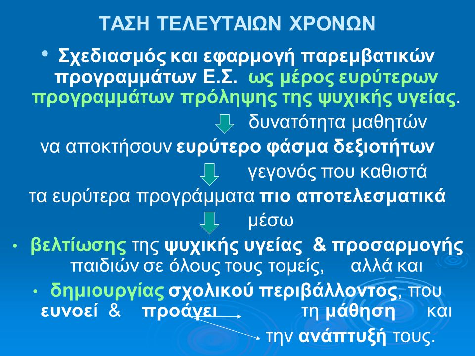 ΤΑΣΗ ΤΕΛΕΥΤΑΙΩΝ ΧΡΟΝΩΝ