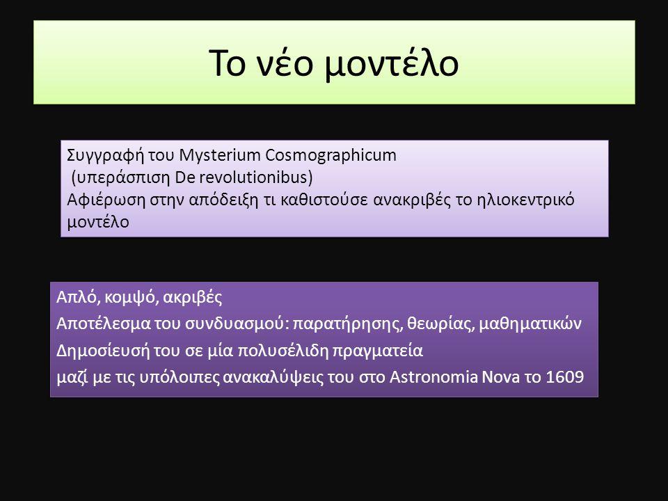 Το νέο μοντέλο Συγγραφή του Mysterium Cosmographicum