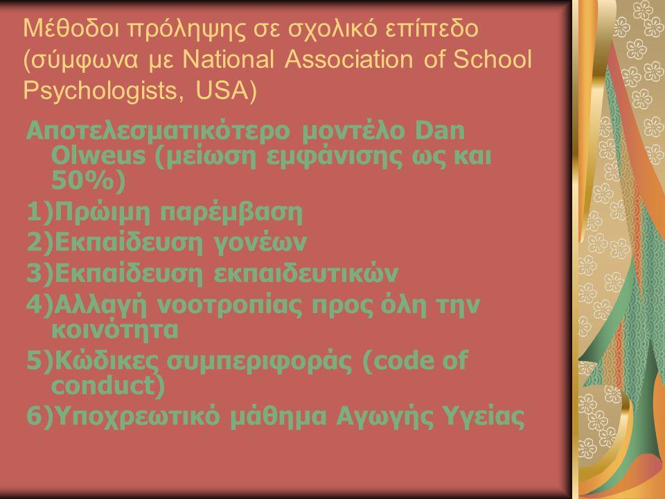 Μέθοδοι πρόληψης σε σχολικό επίπεδο (σύμφωνα με National Association of School Psychologists, USA)