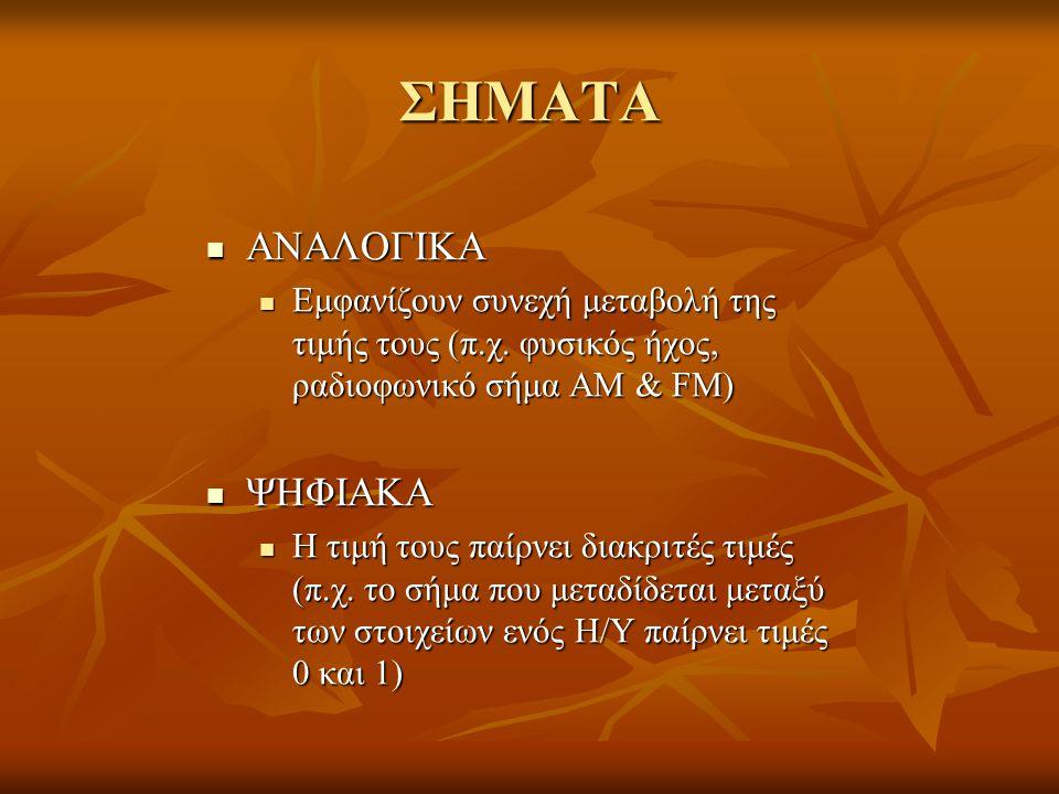 ΣΗΜΑΤΑ ΑΝΑΛΟΓΙΚΑ ΨΗΦΙΑΚΑ
