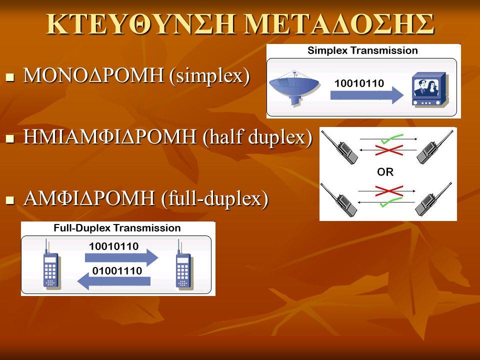 ΚΤΕΥΘΥΝΣΗ ΜΕΤΑΔΟΣΗΣ ΜΟΝΟΔΡΟΜΗ (simplex) ΗΜΙΑΜΦΙΔΡΟΜΗ (half duplex)