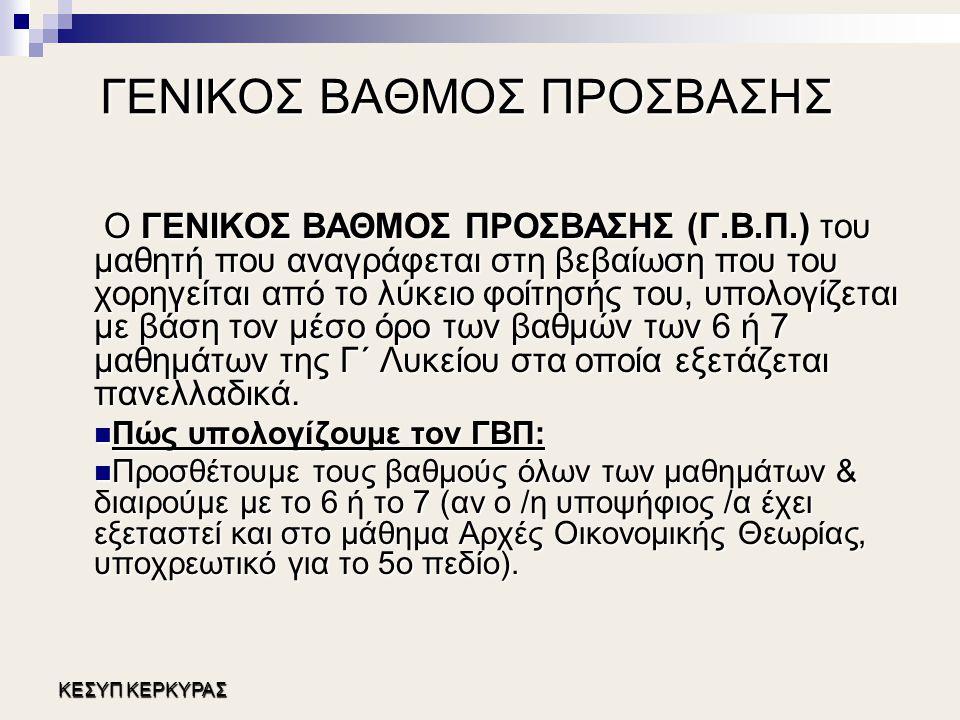 ΓΕΝΙΚΟΣ ΒΑΘΜΟΣ ΠΡΟΣΒΑΣΗΣ