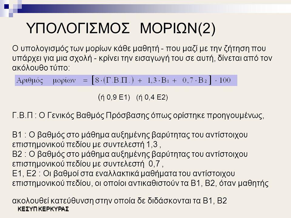 ΥΠΟΛΟΓΙΣΜΟΣ ΜΟΡΙΩΝ(2)