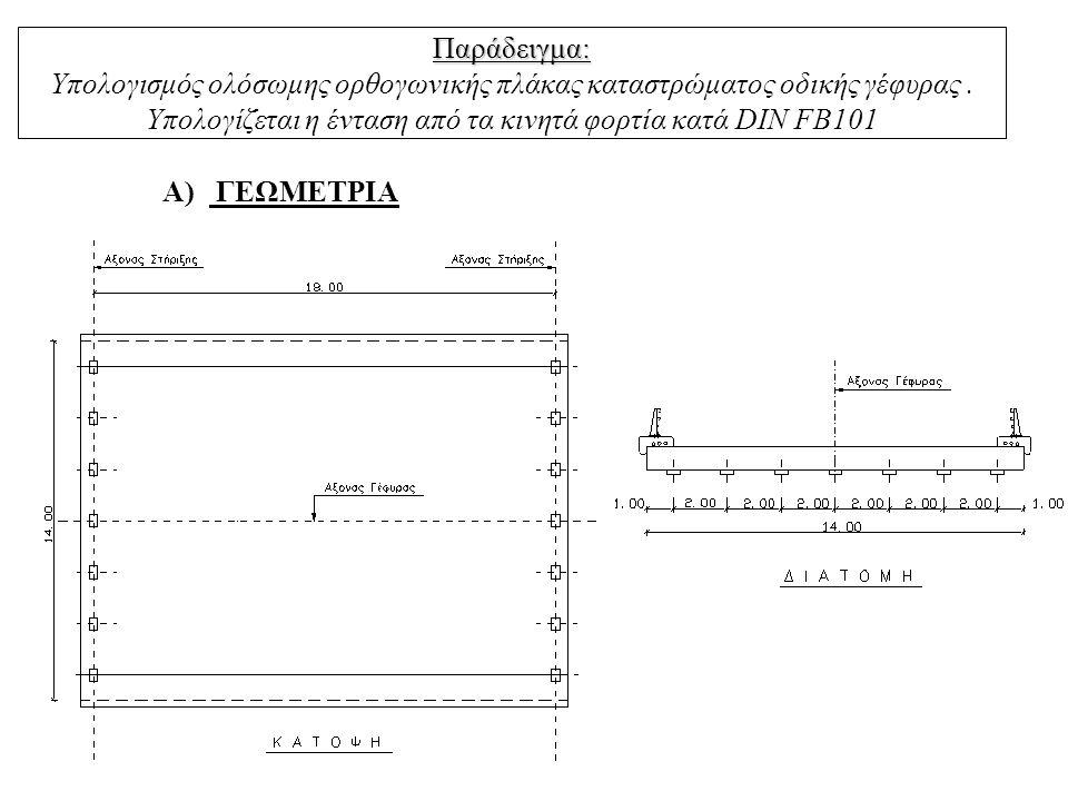 Παράδειγμα: Υπολογισμός ολόσωμης ορθογωνικής πλάκας καταστρώματος οδικής γέφυρας . Υπολογίζεται η ένταση από τα κινητά φορτία κατά DIN FB101