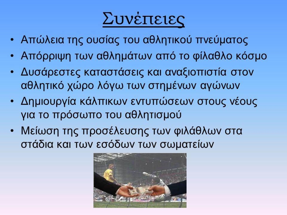 Συνέπειες Απώλεια της ουσίας του αθλητικού πνεύματος