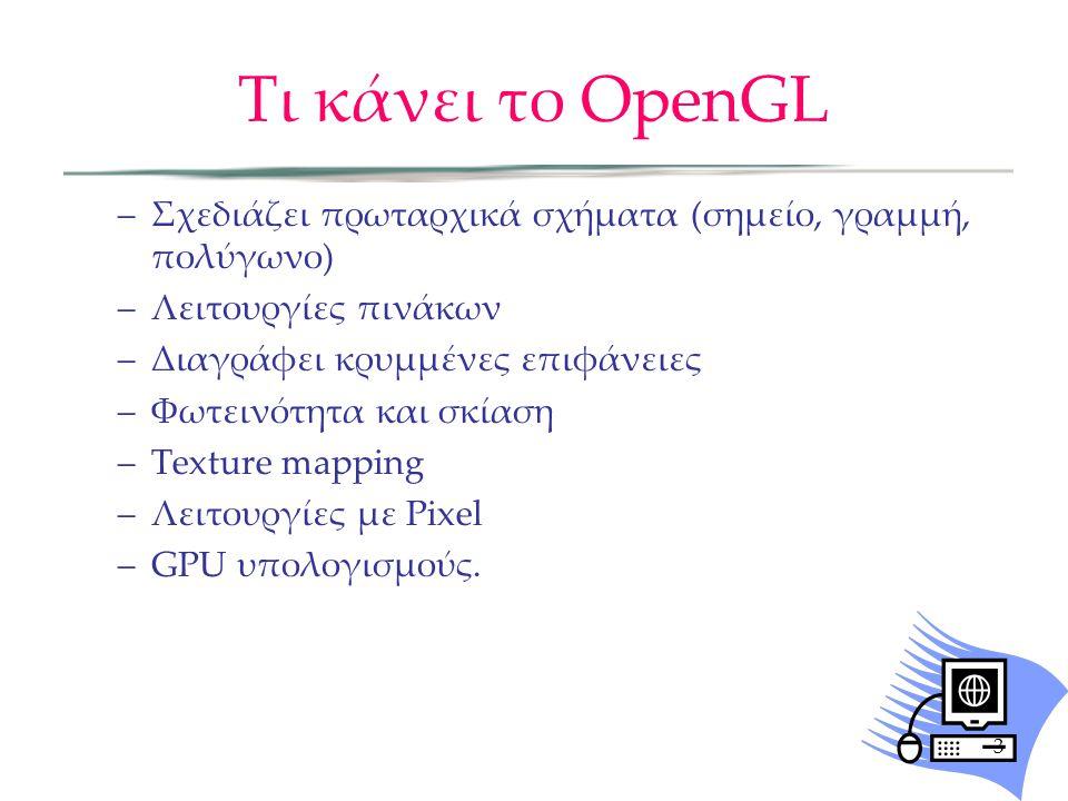 Τι κάνει το OpenGL Σχεδιάζει πρωταρχικά σχήματα (σημείο, γραμμή, πολύγωνο) Λειτουργίες πινάκων. Διαγράφει κρυμμένες επιφάνειες.