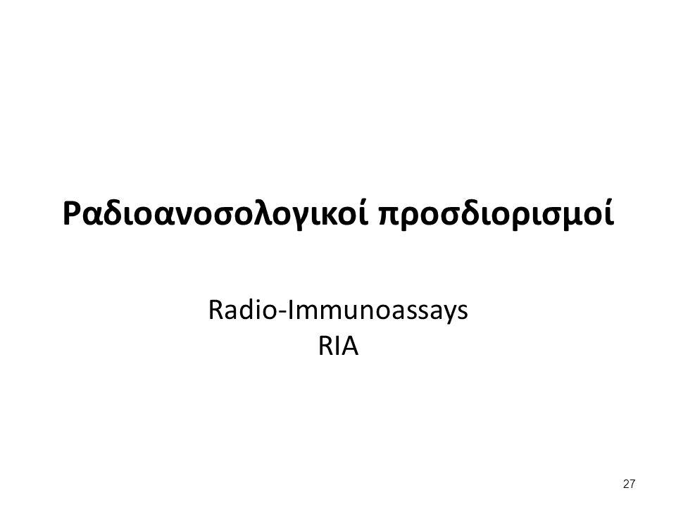 Ανταγωνιστικοί ραδιοανοσολογικοί προσδιορισμοί (RadioImmunoAssay - RIA)