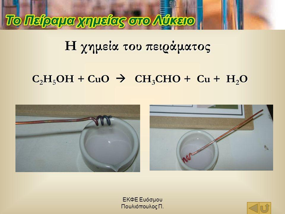 C2H5OH + CuO  CH3CHO + Cu + H2O