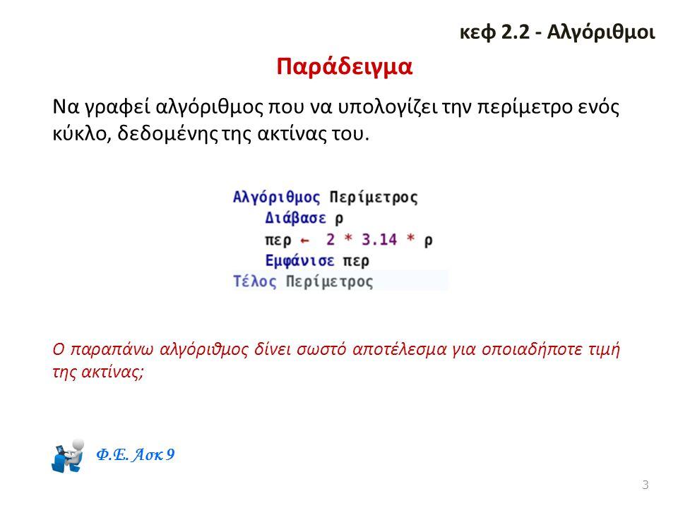 Παράδειγμα κεφ 2.2 - Αλγόριθμοι
