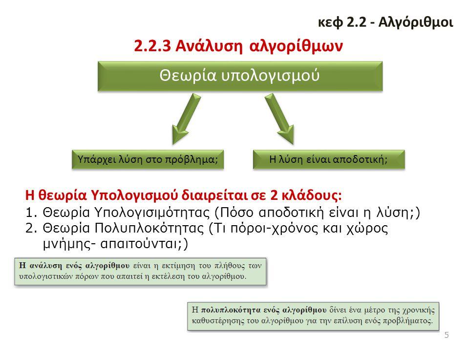2.2.3 Ανάλυση αλγορίθμων Θεωρία υπολογισμού κεφ 2.2 - Αλγόριθμοι