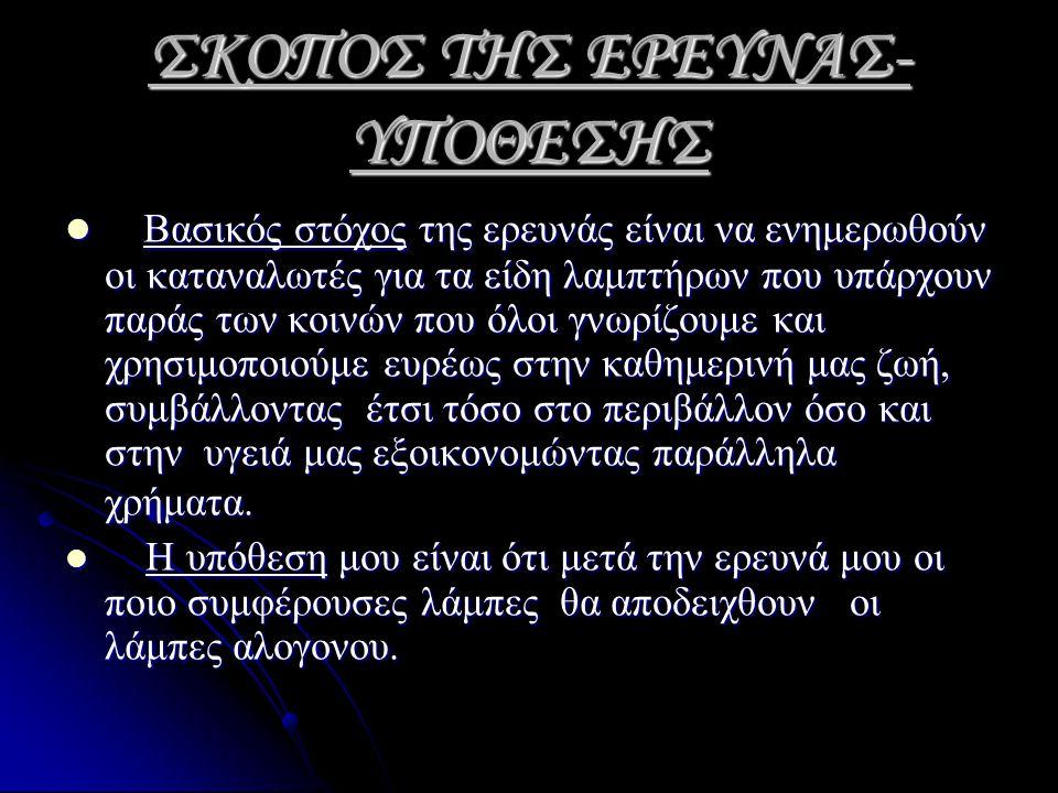 ΣΚΟΠΟΣ ΤΗΣ ΕΡΕΥΝΑΣ-ΥΠΟΘΕΣΗΣ