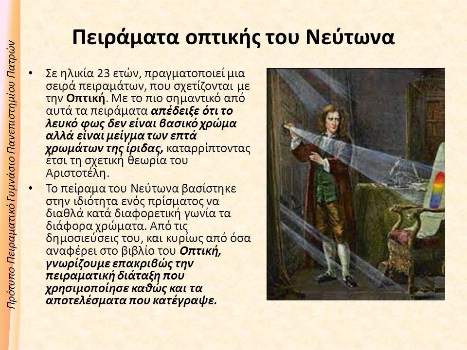 Πειράματα οπτικής του Νεύτωνα