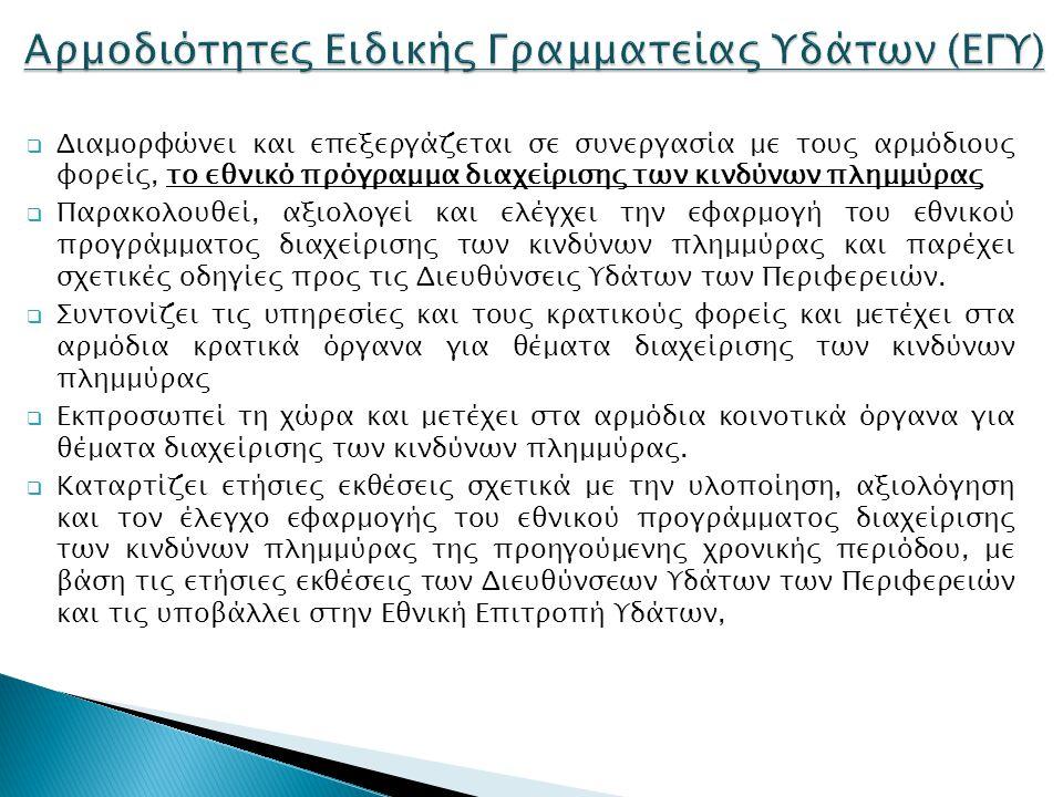 Αρμοδιότητες Ειδικής Γραμματείας Υδάτων (EΓΥ)