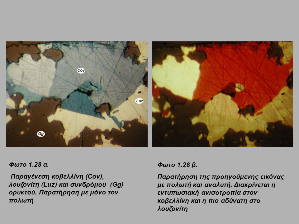 Φωτο 1.28 α. Παραγένεση κοβελλίνη (Cov), λουζονίτη (Luz) και συνδρόμου (Gg) ορυκτού. Παρατήρηση με μόνο τον πολωτή.
