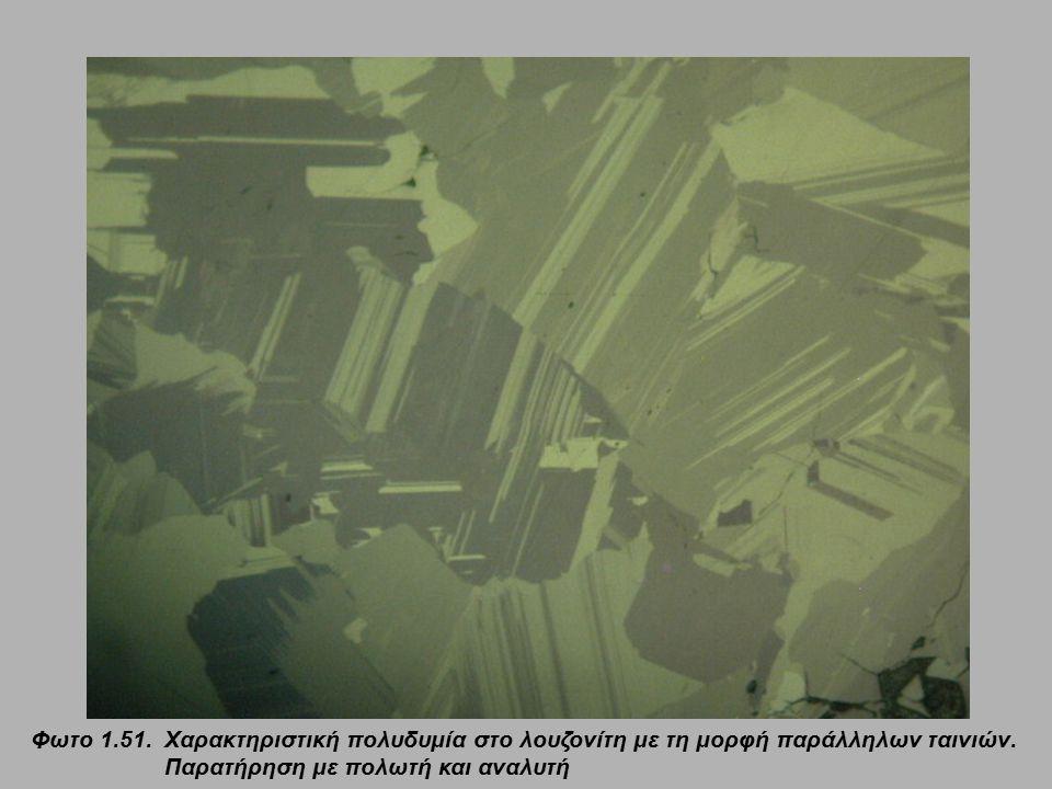 Φωτο 1.51. Χαρακτηριστική πολυδυμία στο λουζονίτη με τη μορφή παράλληλων ταινιών.
