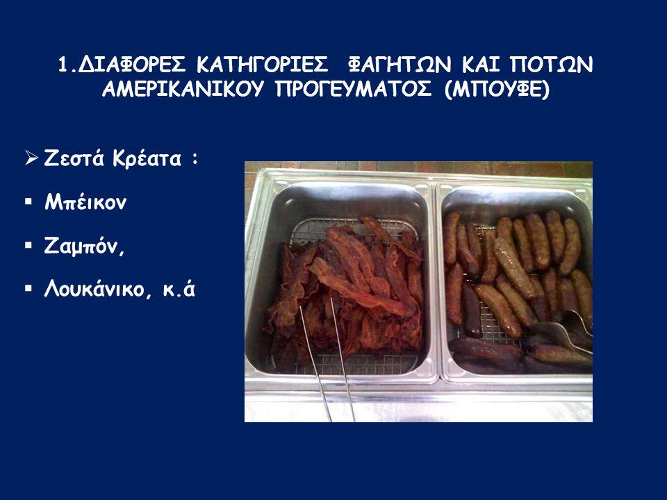 Ζεστά Κρέατα : Μπέικον Ζαμπόν, Λουκάνικο, κ.ά