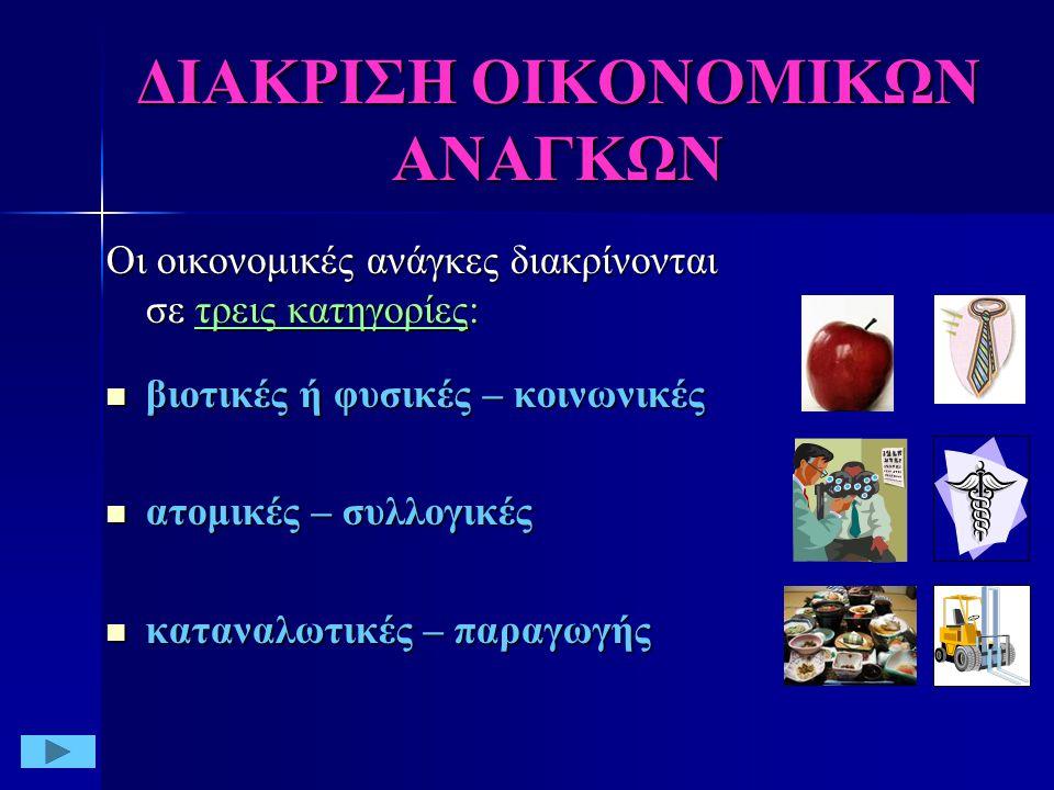 ΔΙΑΚΡΙΣΗ ΟΙΚΟΝΟΜΙΚΩΝ ΑΝΑΓΚΩΝ