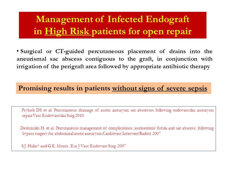 Management of Infected Endograft in High Risk patients for open repair