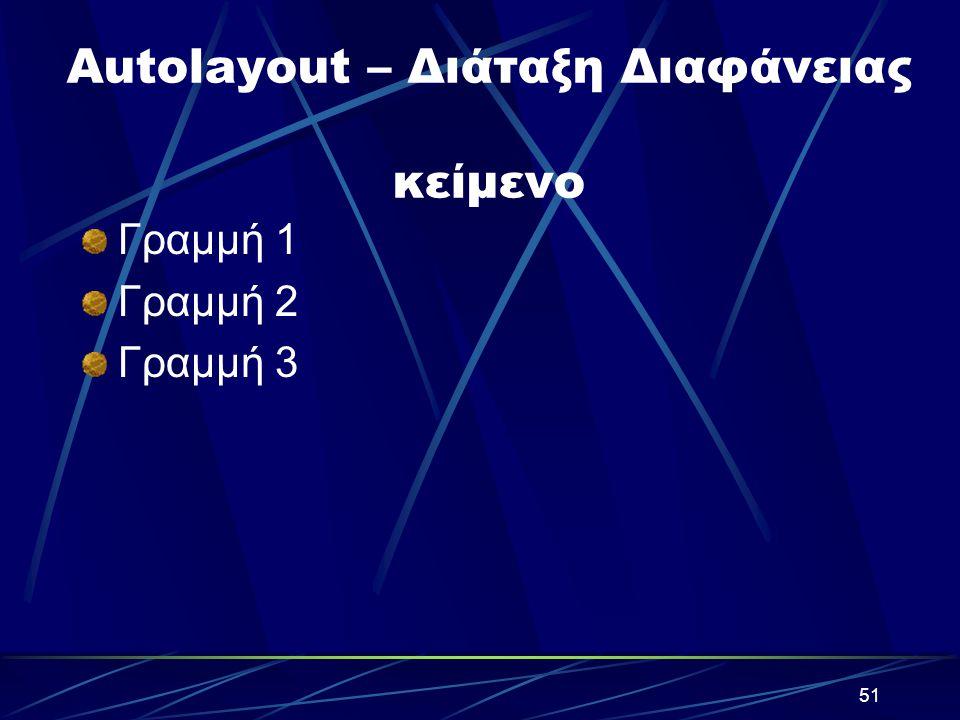 Autolayout – Διάταξη Διαφάνειας κείμενο