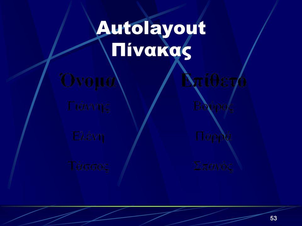 Autolayout Πίνακας