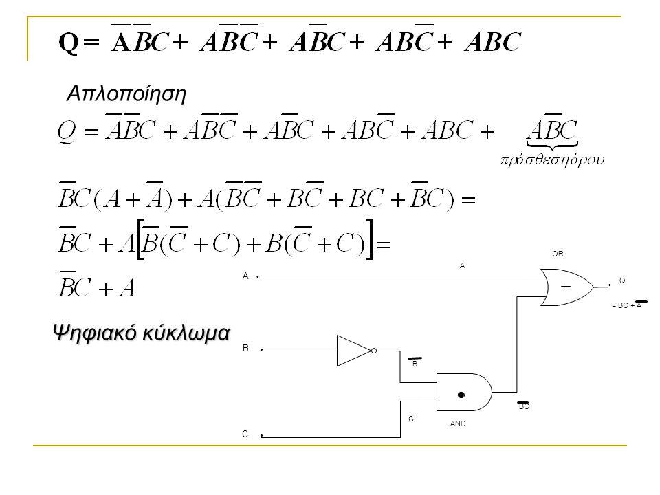 Απλοποίηση A C OR B AND BC Q = BC + A · Ψηφιακό κύκλωμα