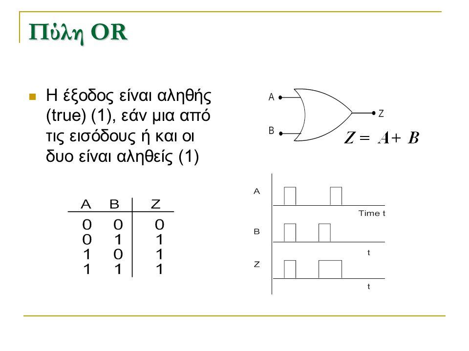Πύλη OR H έξοδος είναι αληθής (true) (1), εάν μια από τις εισόδους ή και οι δυο είναι αληθείς (1)