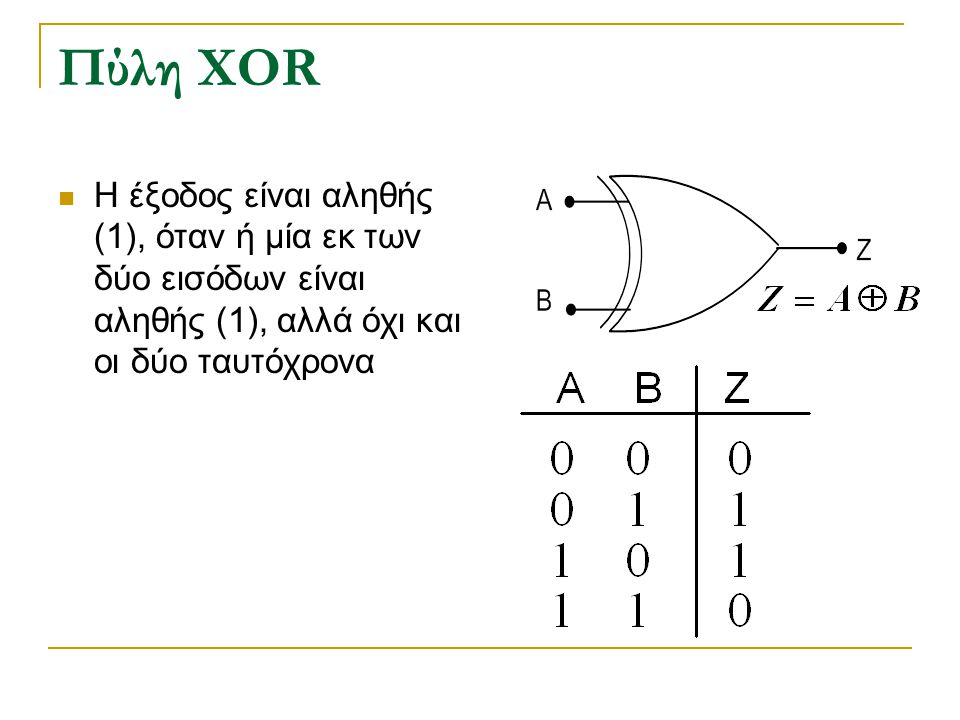 Πύλη XOR H έξοδος είναι αληθής (1), όταν ή μία εκ των δύο εισόδων είναι αληθής (1), αλλά όχι και οι δύο ταυτόχρονα.