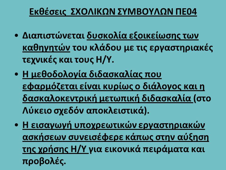Εκθέσεις ΣΧΟΛΙΚΩΝ ΣΥΜΒΟΥΛΩΝ ΠΕ04