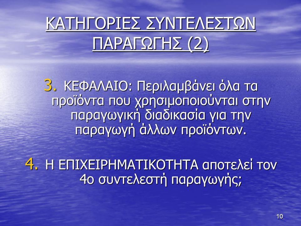 ΚΑΤΗΓΟΡΙΕΣ ΣΥΝΤΕΛΕΣΤΩΝ ΠΑΡΑΓΩΓΗΣ (2)