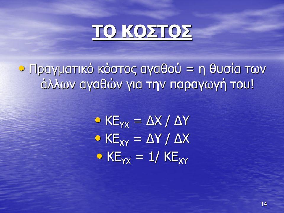 ΤΟ ΚΟΣΤΟΣ Πραγματικό κόστος αγαθού = η θυσία των άλλων αγαθών για την παραγωγή του! ΚΕYX = ΔΧ / ΔY.