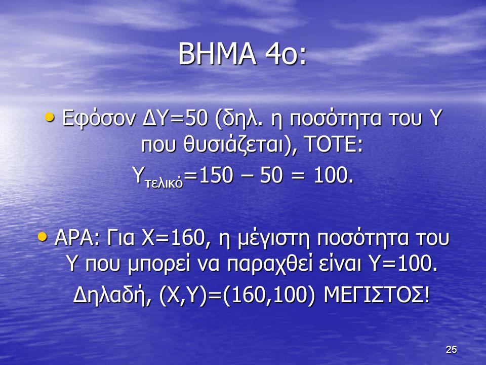 ΒΗΜΑ 4ο: Εφόσον ΔΥ=50 (δηλ. η ποσότητα του Υ που θυσιάζεται), ΤΟΤΕ: