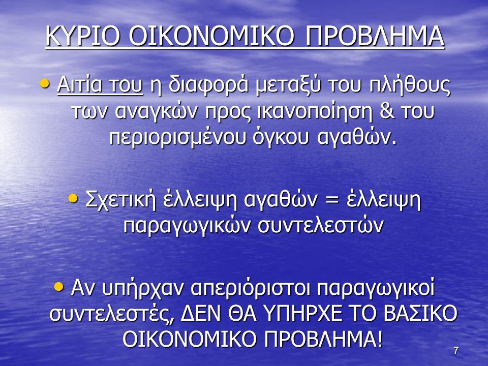 ΚΥΡΙΟ ΟΙΚΟΝΟΜΙΚΟ ΠΡΟΒΛΗΜΑ
