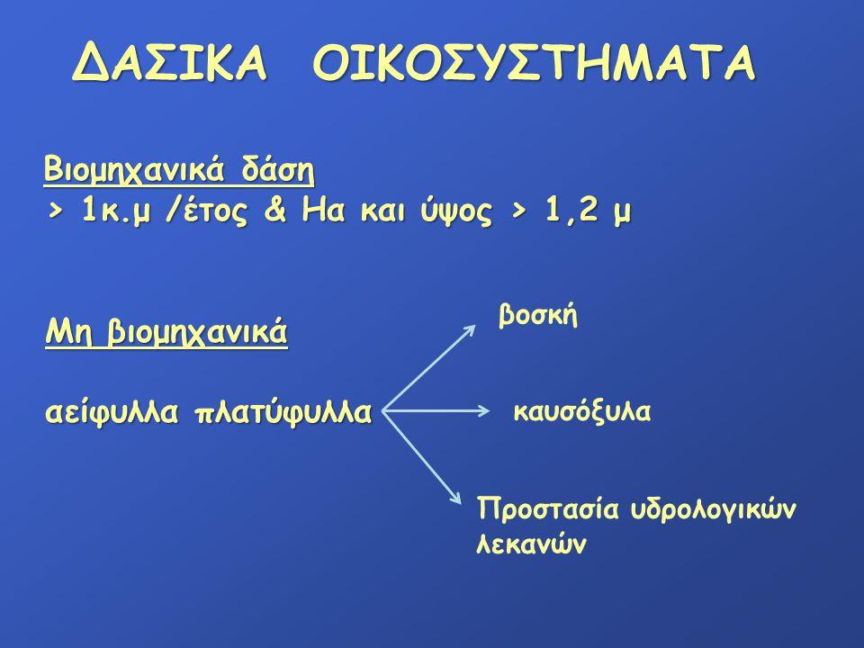 ΔΑΣΙΚΑ ΟΙΚΟΣΥΣΤΗΜΑΤΑ > 1κ.μ /έτος & Ηα και ύψος > 1,2 μ